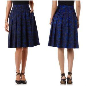 Covington Cobalt Floral Pleated A-Line Midi Skirt